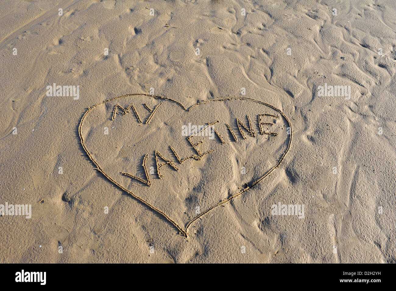 Word My Valentine written in sand - Stock Image