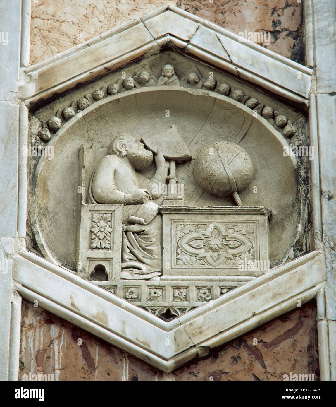 Gionitus. Inventor of Astronomy, (1334-1336). Relief in the exagonal panels of the campanile of Florence Cathedral. - Stock Image