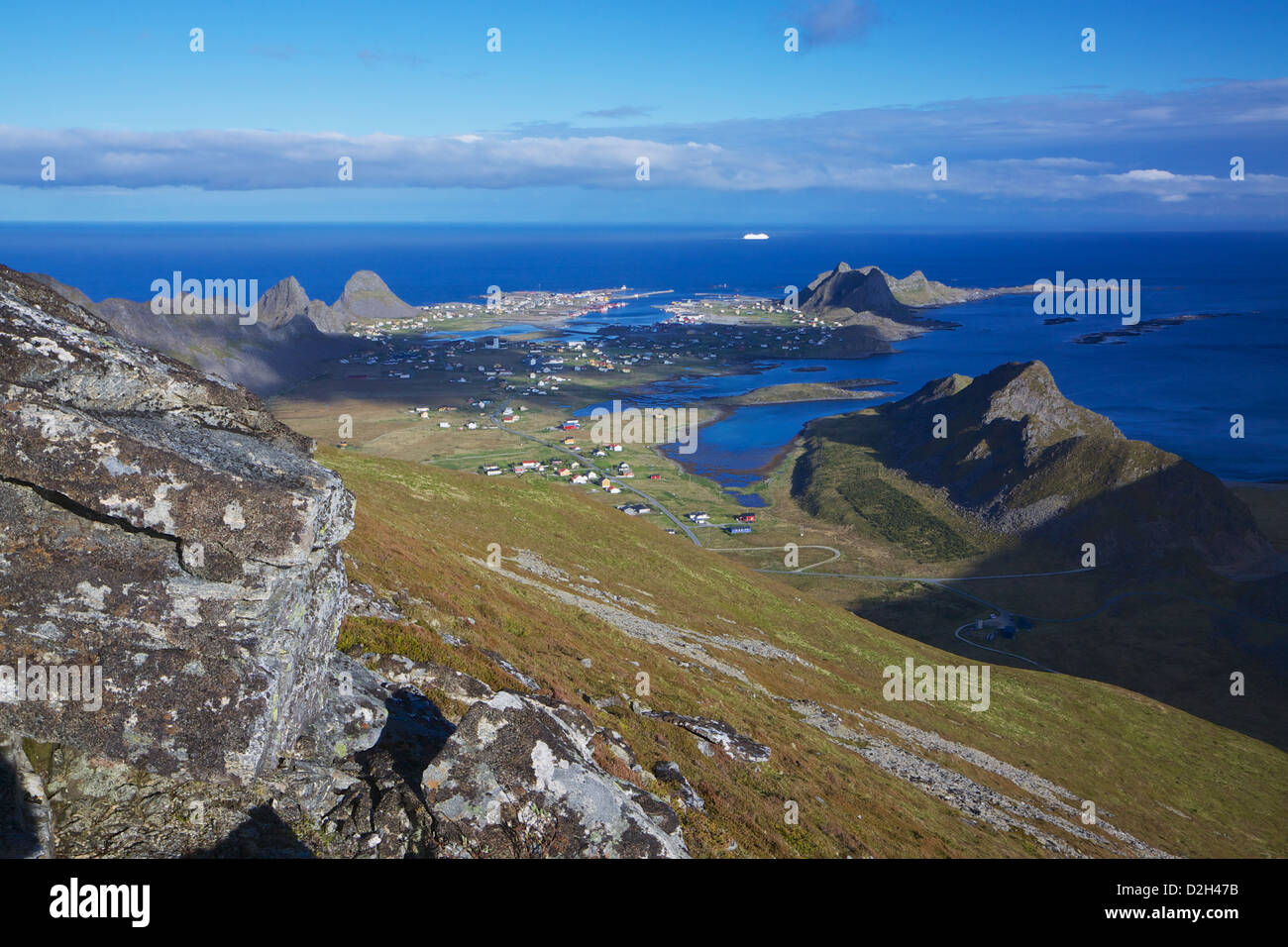 Scenic fishing town of Sorland on Vearoy, Lofoten islands in Norway - Stock Image