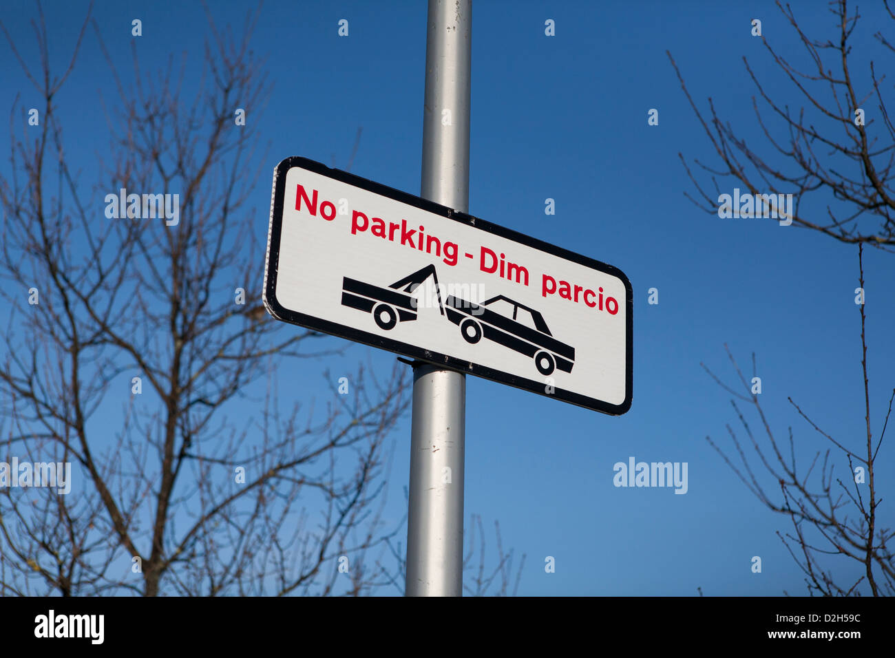 No Parking sign with welsh translation. - Stock Image