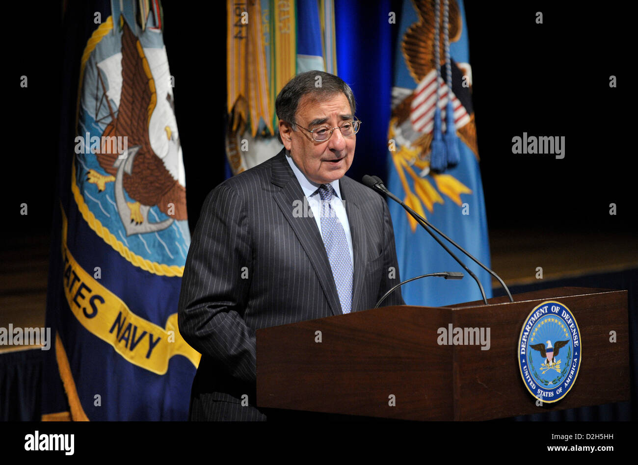 Arlington, Virginia, USA. 24th January 2013. US Secretary of Defense Leon Panetta delivers remarks during the 28th annual observance of Martin Luther King Jr. in the Pentagon Auditorium January 24, 2013 in Arlington, VA. Panetta is expected to officially lift the restrictions on women in combat later in the day. Credit:  Planetpix / Alamy Live News Stock Photo