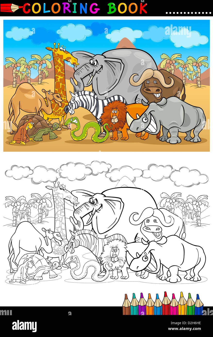 Cartoon Illustration Of Funny Safari Wild Animals Like Elephant Rhino Lion Zebra Giraffe And Monkey For Coloring Book