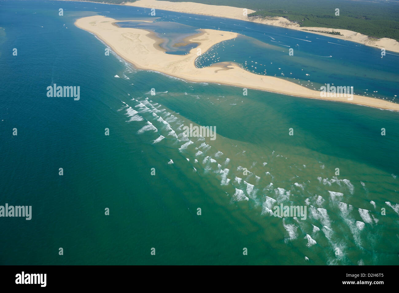 Aerial View Of Banc Darguin Near Sandy Dune Of Pilat And Close