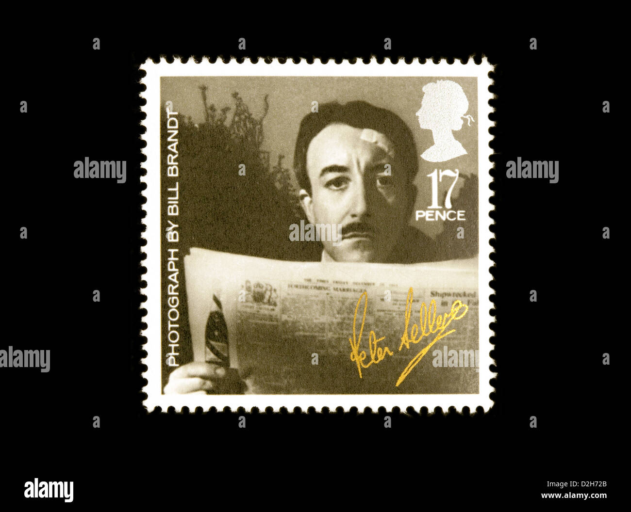 1985 British stamp featuring a photograph of the actor Peter sellers taken by Bill Brandt, UK, for British Film - Stock Image