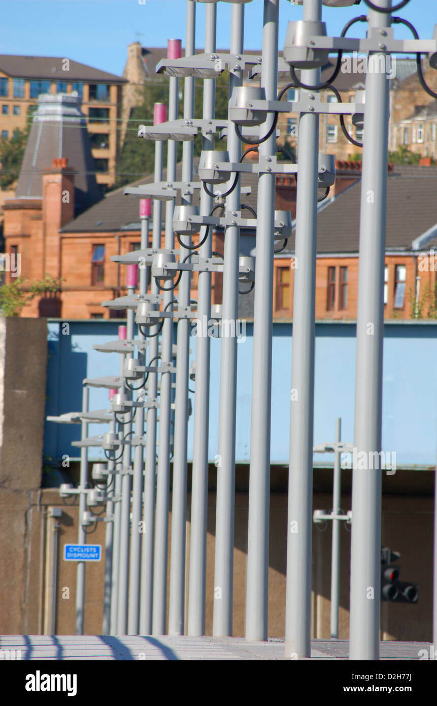 Row of lamp posts in Partick, Glasgow, Scotland - Stock Image