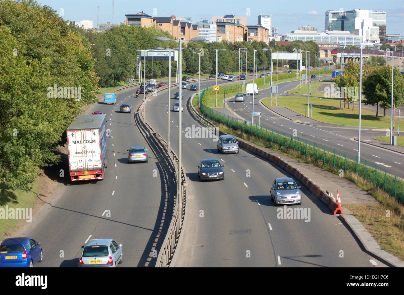 Traffic on the Clydeside Expressway in Glasgow, Scotland - Stock Image