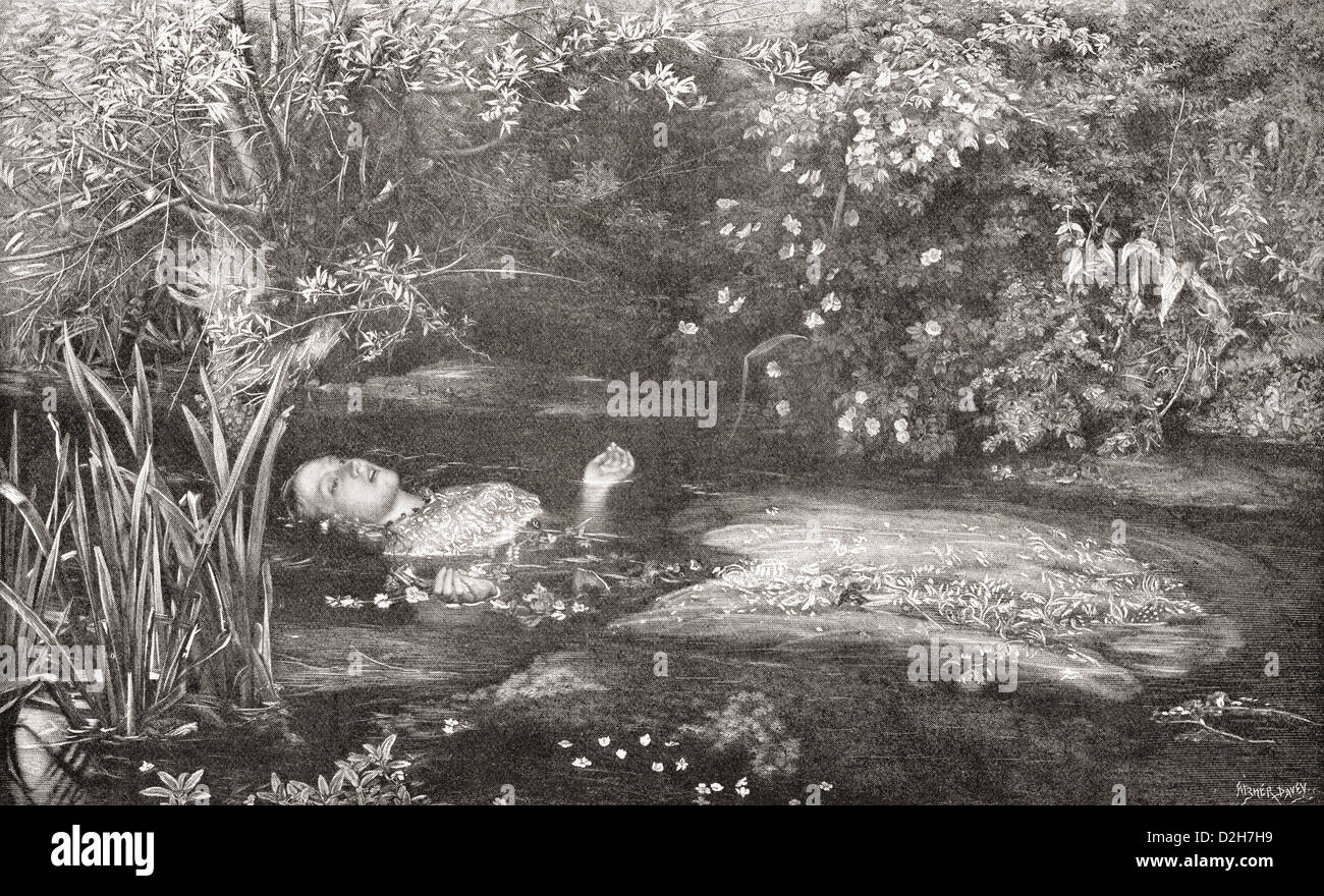Ophelia.  After the painting by Sir John Everett Millais. Elizabeth Siddal was the model. - Stock Image