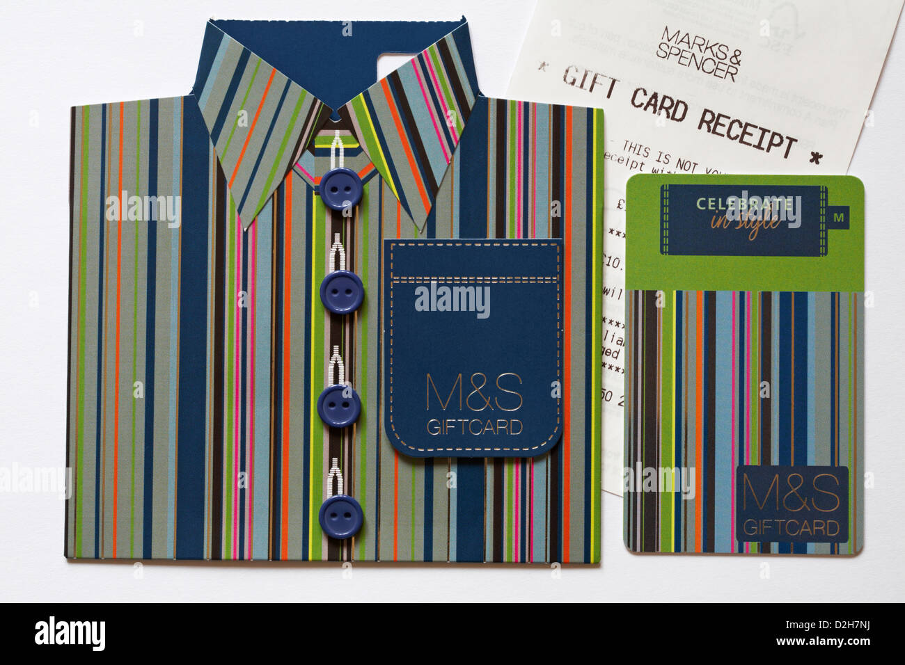 Celebrate in style with M&S giftcard in shape of striped shirt with Marks & Spencer gift