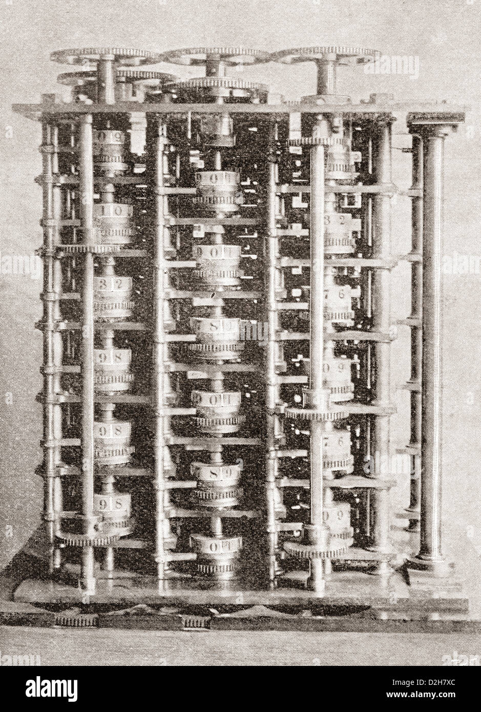 Difference engine of the Babbage Calculating Machine, invented by Charles Babbage in 1822. - Stock Image