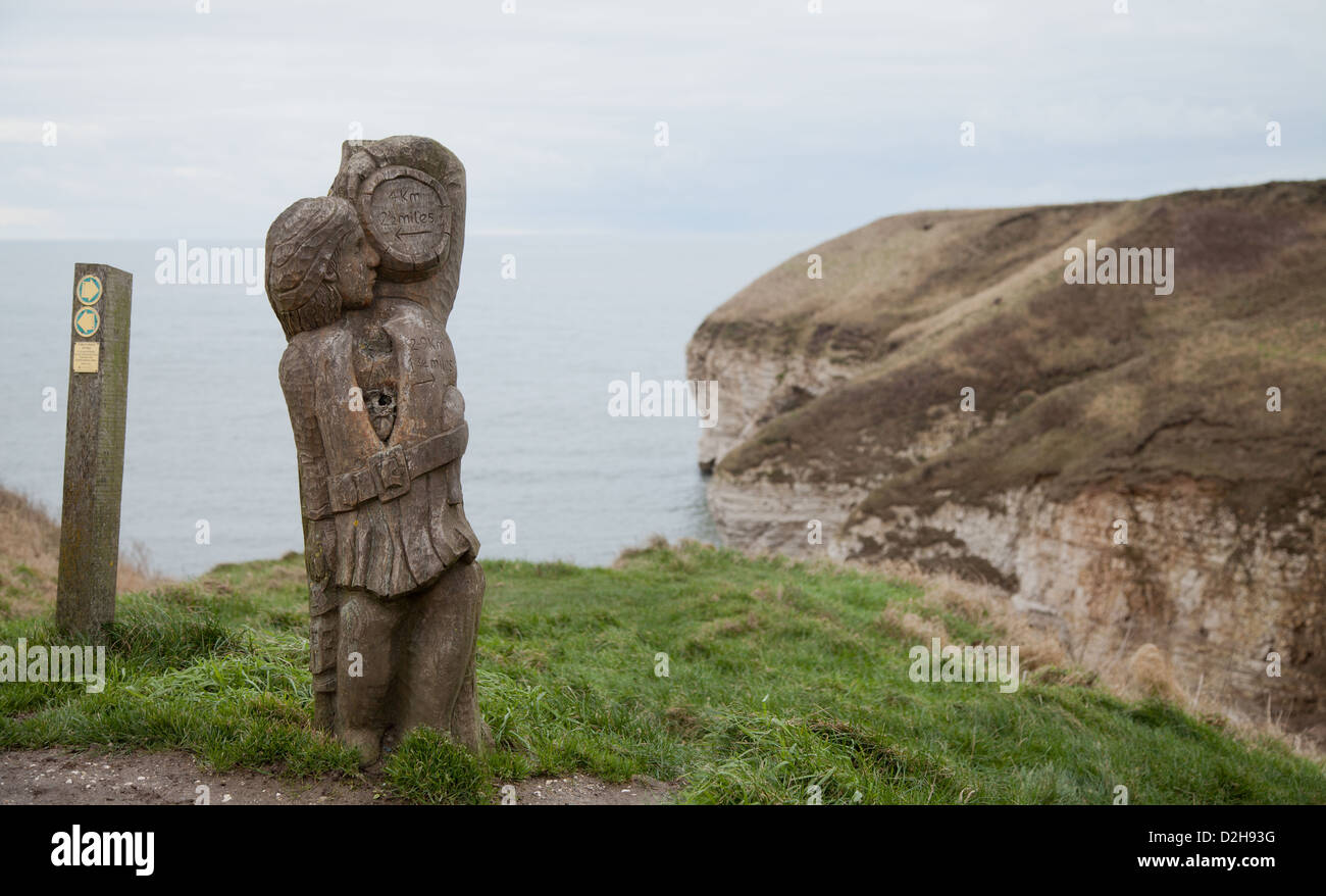 Coastal footpath sign at flambrough head on the Yorkshire coast - Stock Image