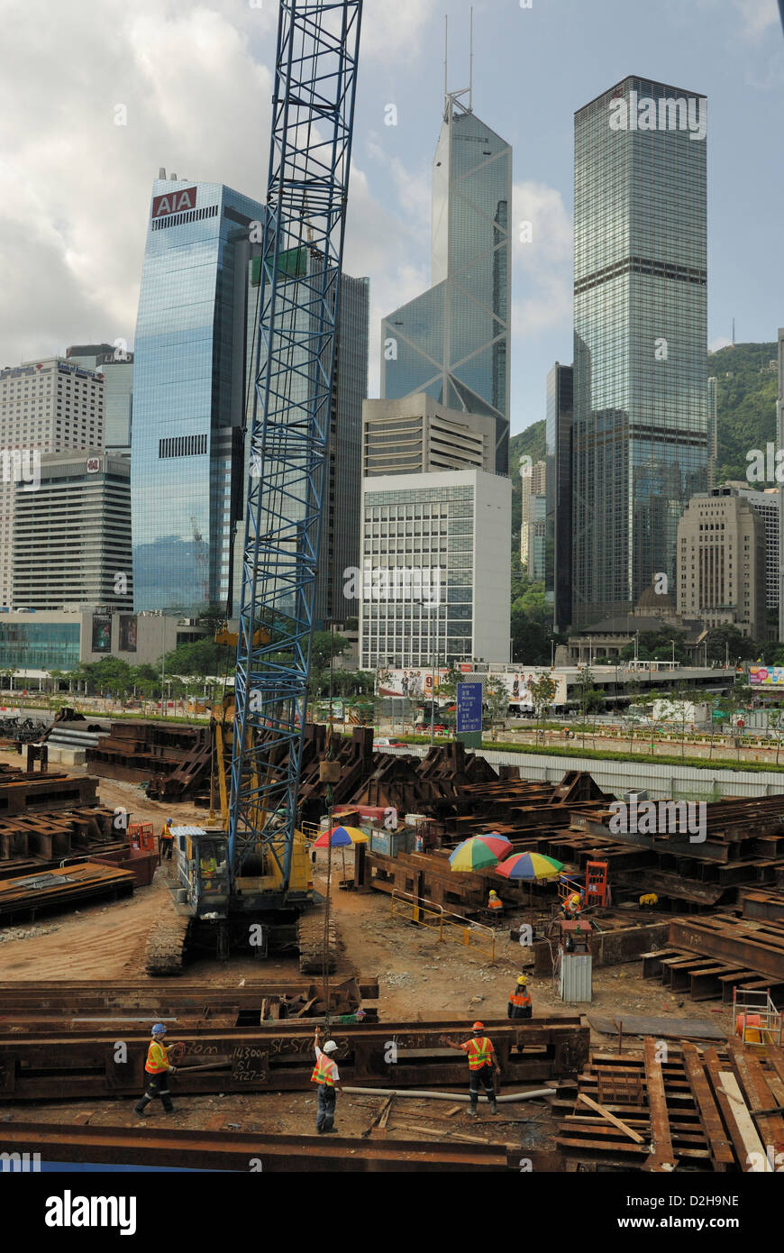 Steel girder construction site located near The Pier, Hong Kong Central District, China. Stock Photo