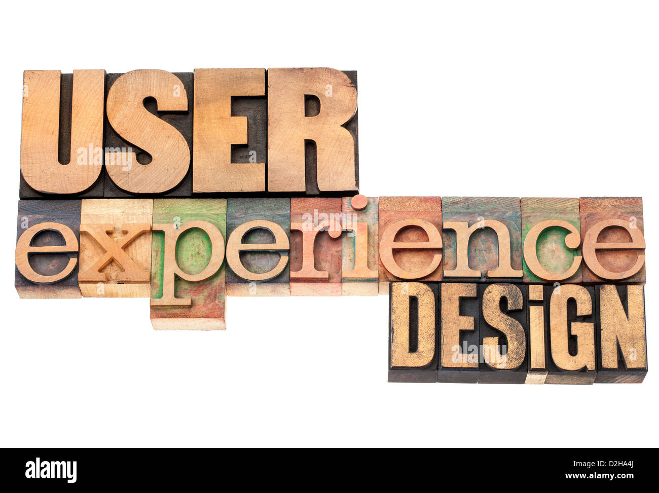 user experience design - industrial design concept - isolated text in vintage letterpress wood type printing blocks - Stock Image