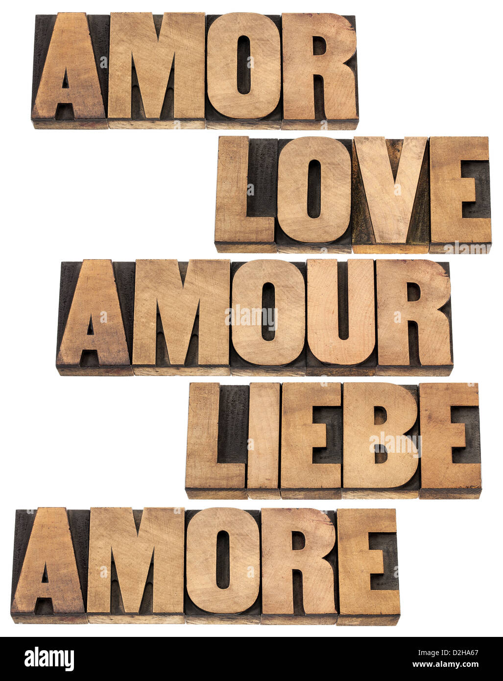 Love Word In  Languages English Spanish German French And Italian In Vintage Typography