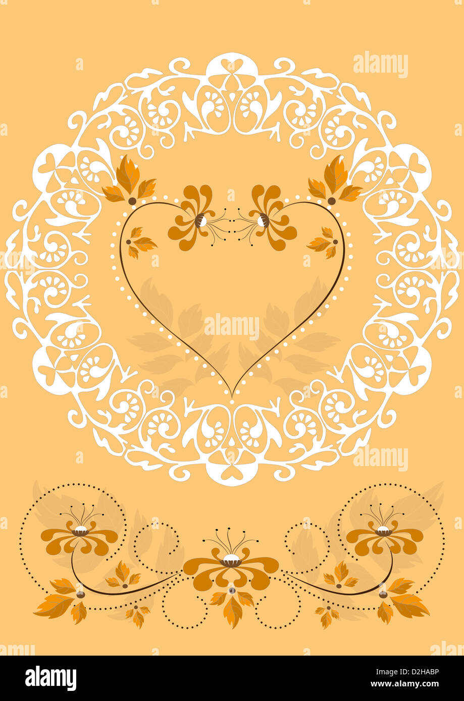 Openwork frame with orange flowers and hearts - Stock Image