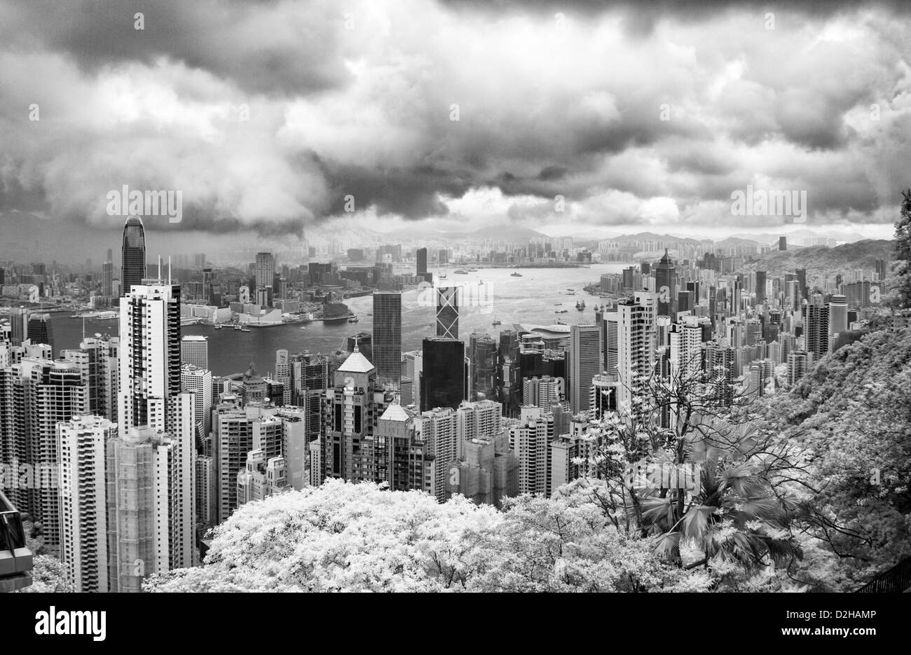 Victoria Harbour, Hong Kong, taken from The Peak, Hong Kong Island in Infra Red - Stock Image