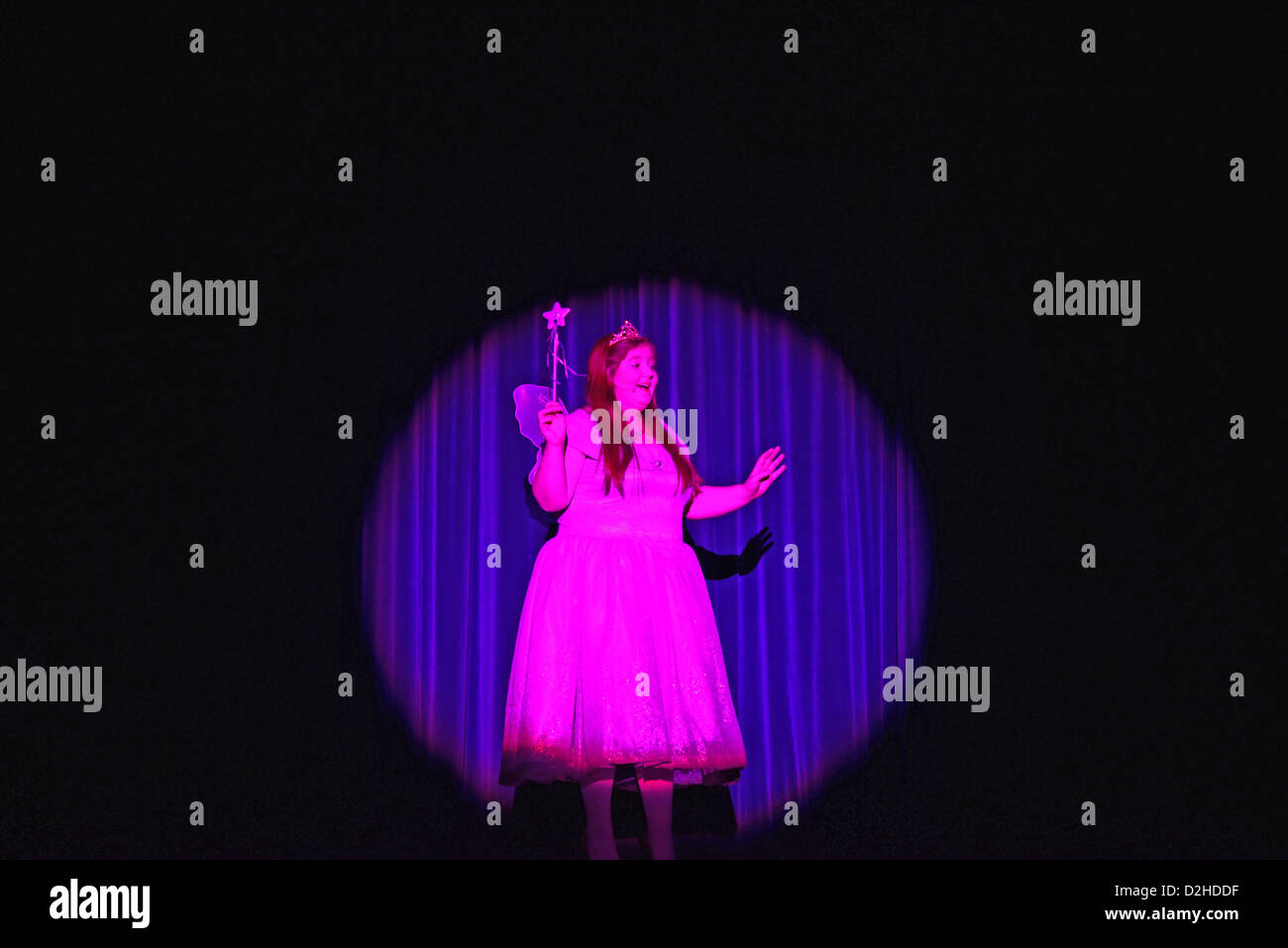 A fairy in the spotlight in 'Hansel & Gretel' amateur pantomime production, Hounslow, Greater London, - Stock Image