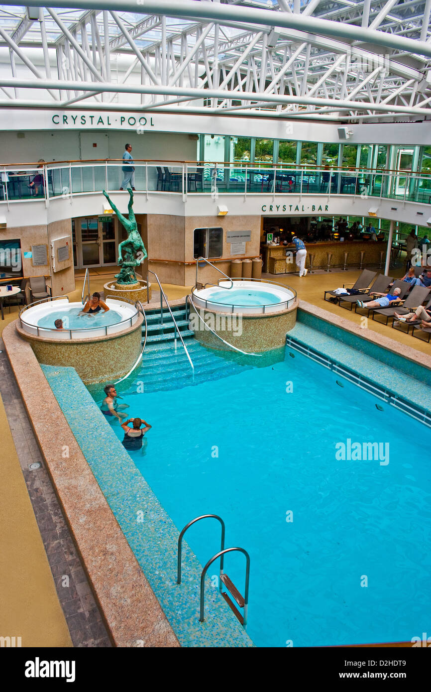 Swimming Pool Under A Retractable Roof On The Pu0026O Cruise Ship Aurora
