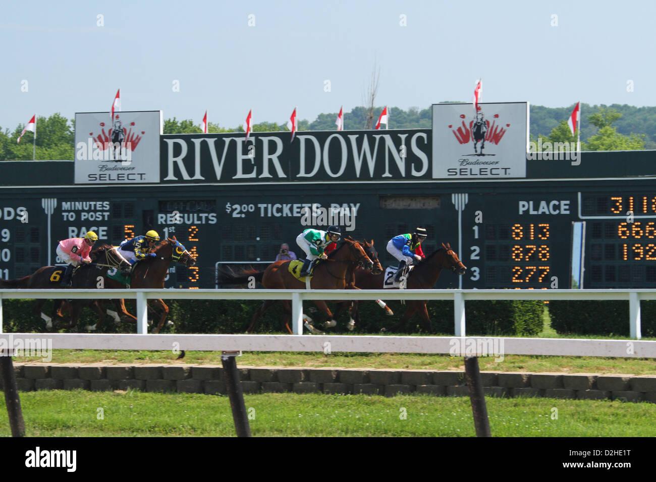 Horse Racing at River Downs track, Cincinnati, Ohio, USA. Stock Photo