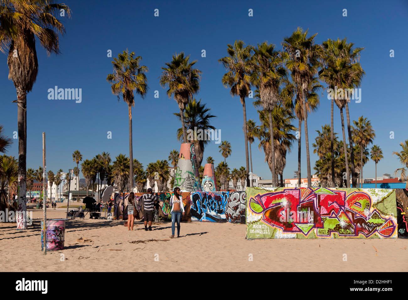 Graffitti at Venice Beach, Los Angeles, California, United States of America, USA - Stock Image