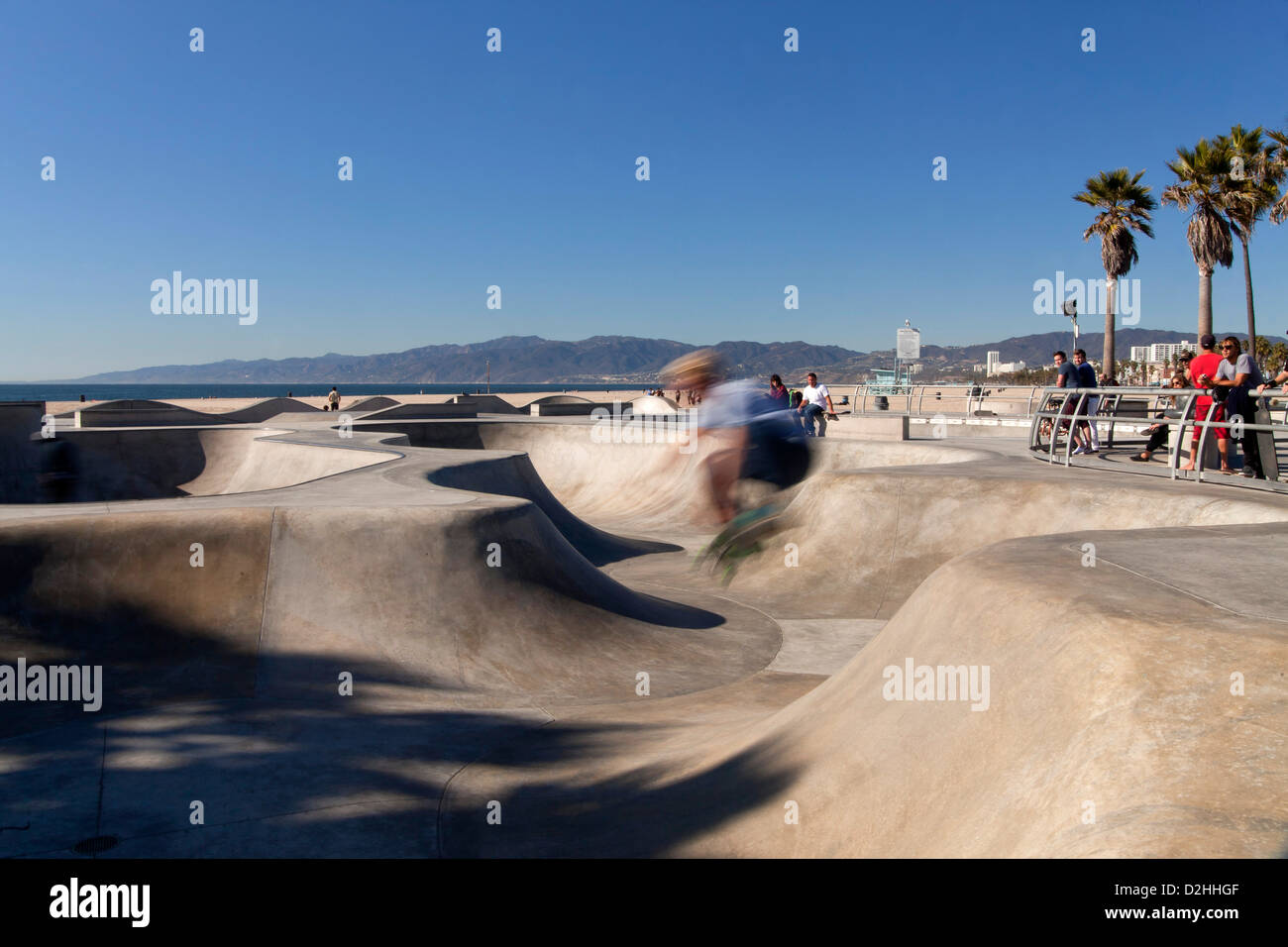 Skater at the skate park in Venice Beach, Los Angeles, California, United States of America, USA Stock Photo