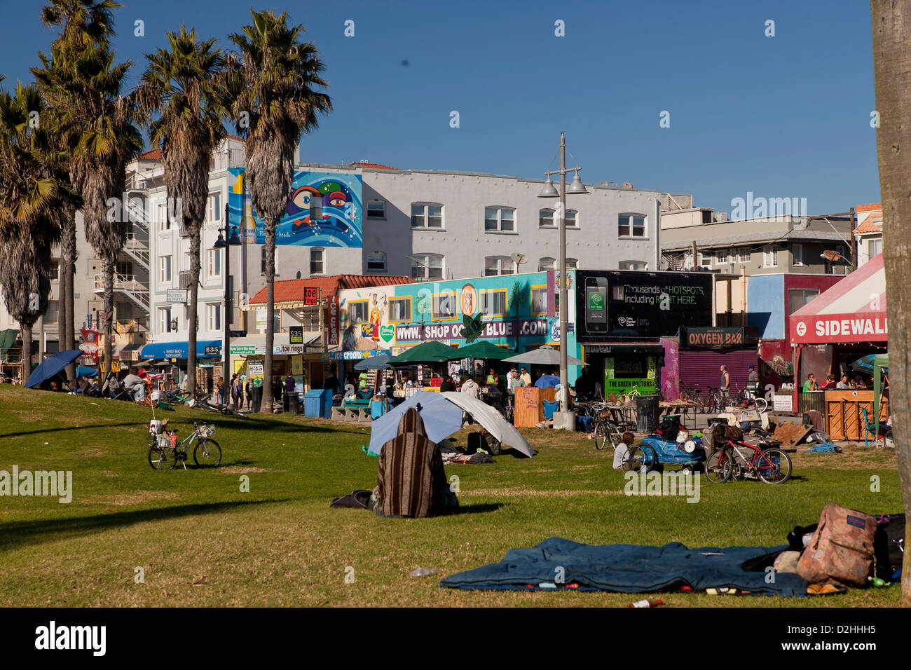 homeless people at Venice Beach, Los Angeles, California, United States of America, USA - Stock Image