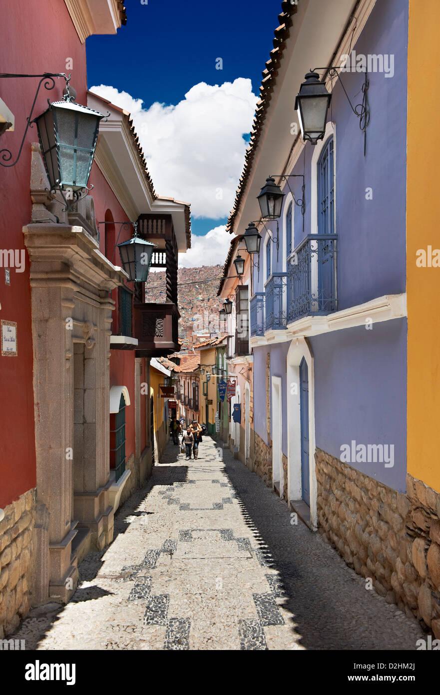 Jaen Street, last historic road, La Paz, Bolivia, South America - Stock Image