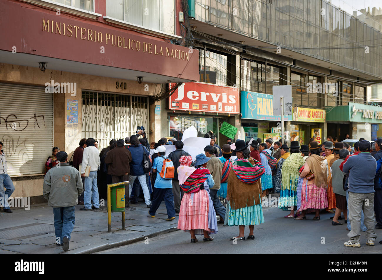 demonstrating local women, La Paz, Bolivia, South America - Stock Image