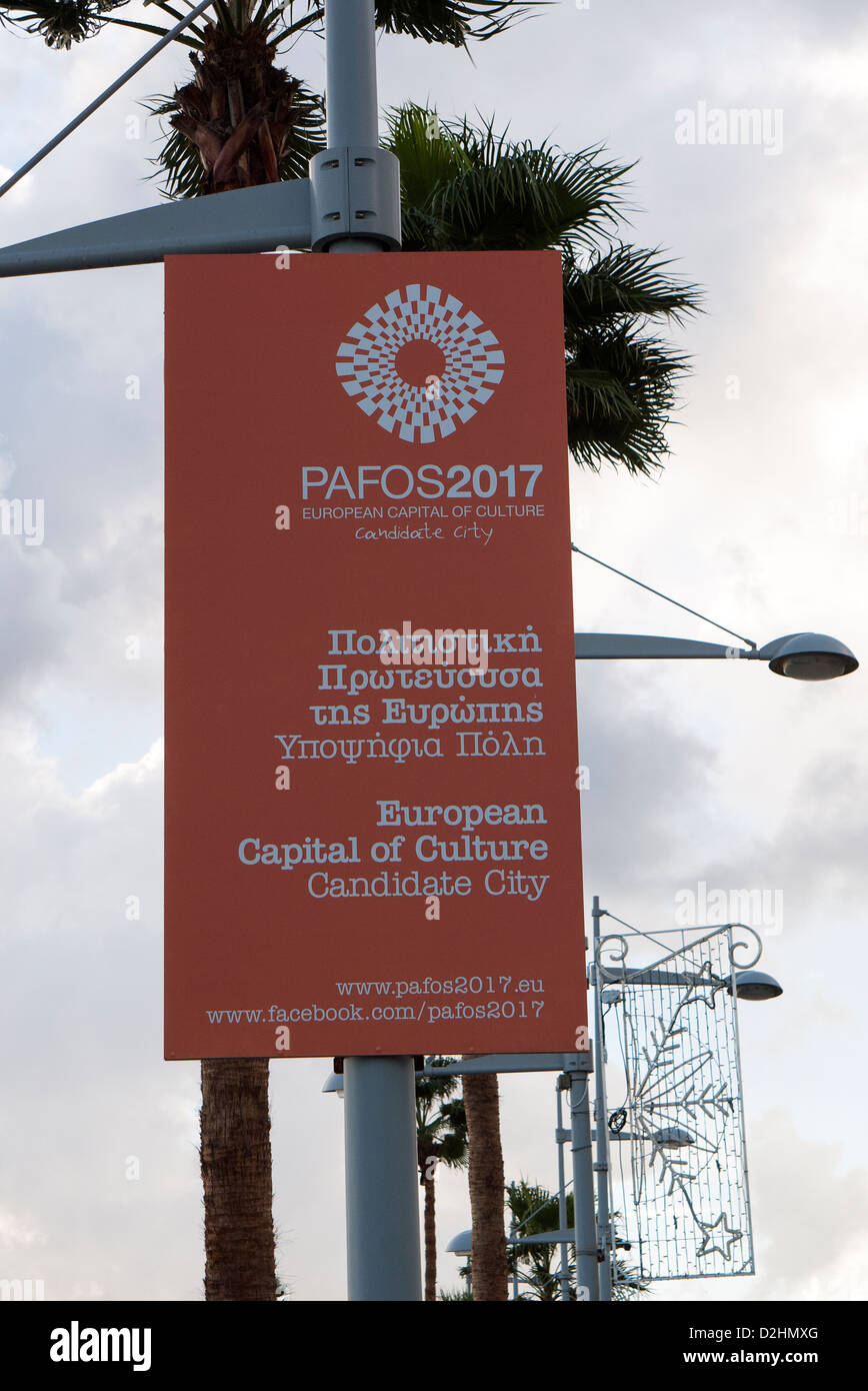 European Capital of Culture candidate Paphos Cyprus 2017 sign on lampost - Stock Image
