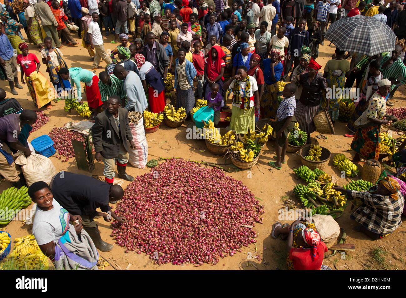 market, Ngororero, Rwanda - Stock Image