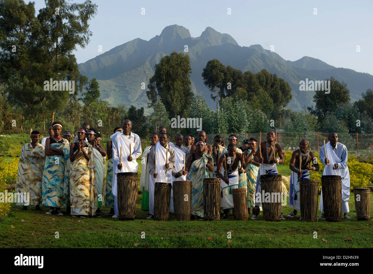 Intore dancing,Volcanoes National Park, Rwanda Stock Photo