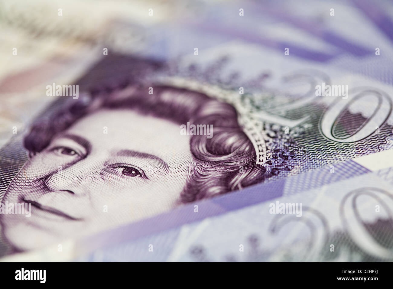 Close-up of the Queen's Head on a Twenty Pound Note - Stock Image