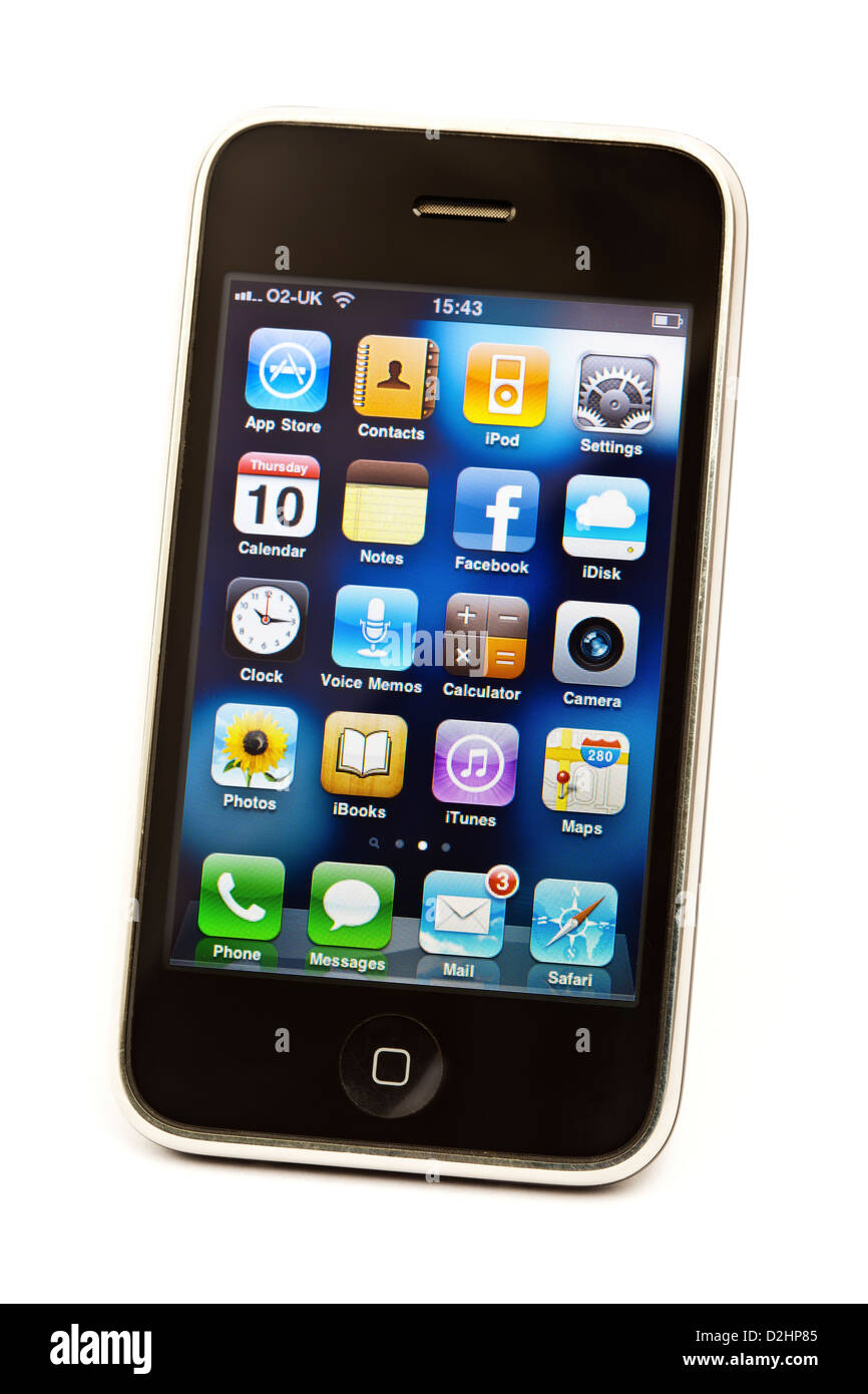 Studio shot of a iPhone 3GS isolated on a white background. Screen shows a selection of apps with a personalised - Stock Image
