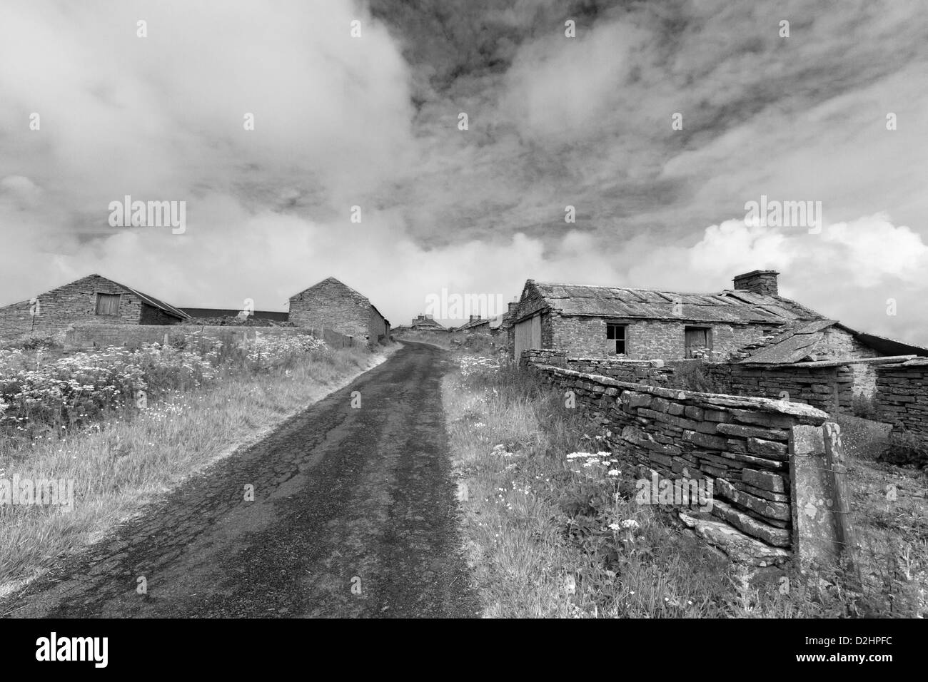 Abandoned village on Orkney island of Westray - Stock Image