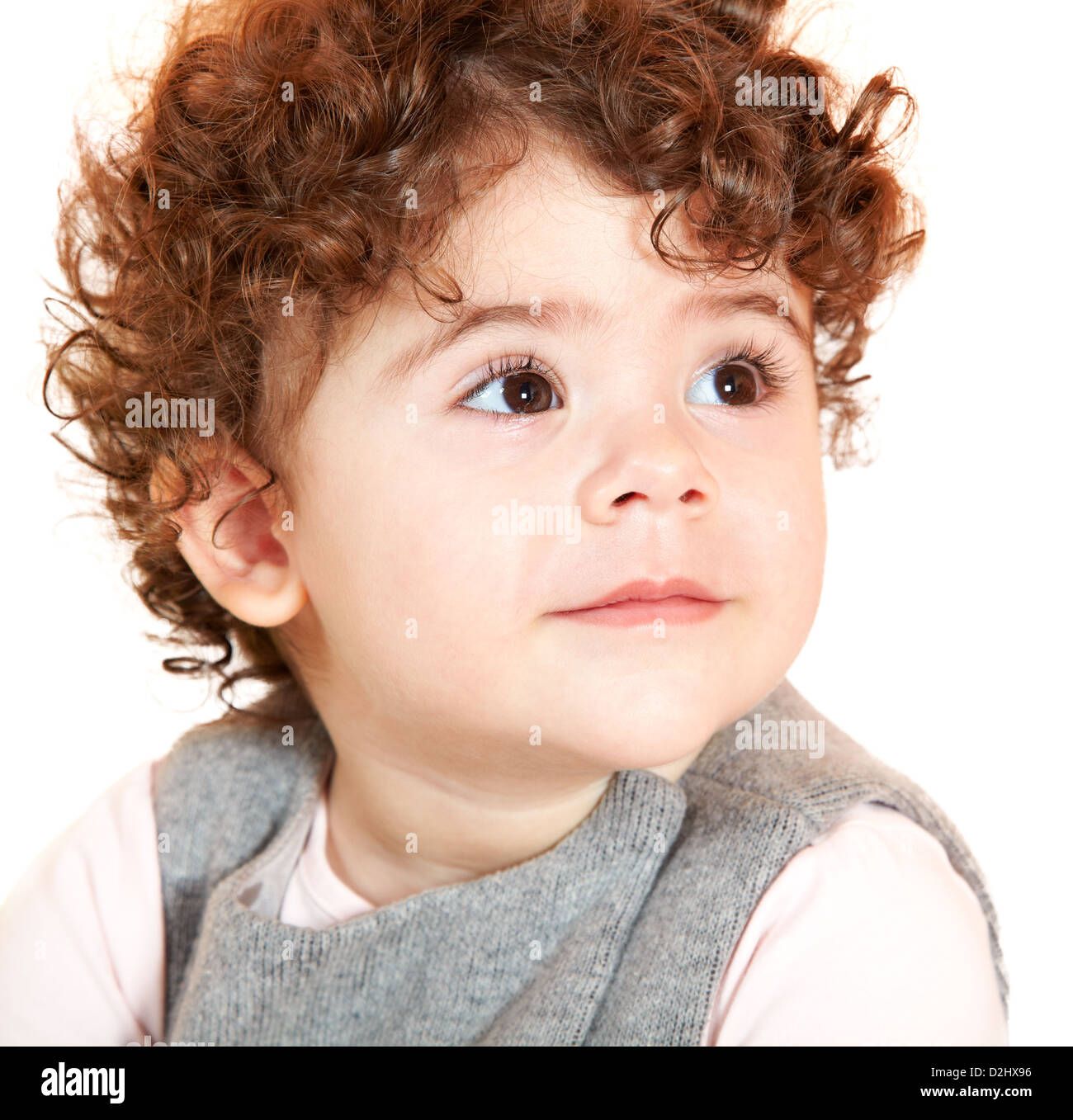 Two Year Old Baby Girl With Curly Hair Portrait Stock Photo