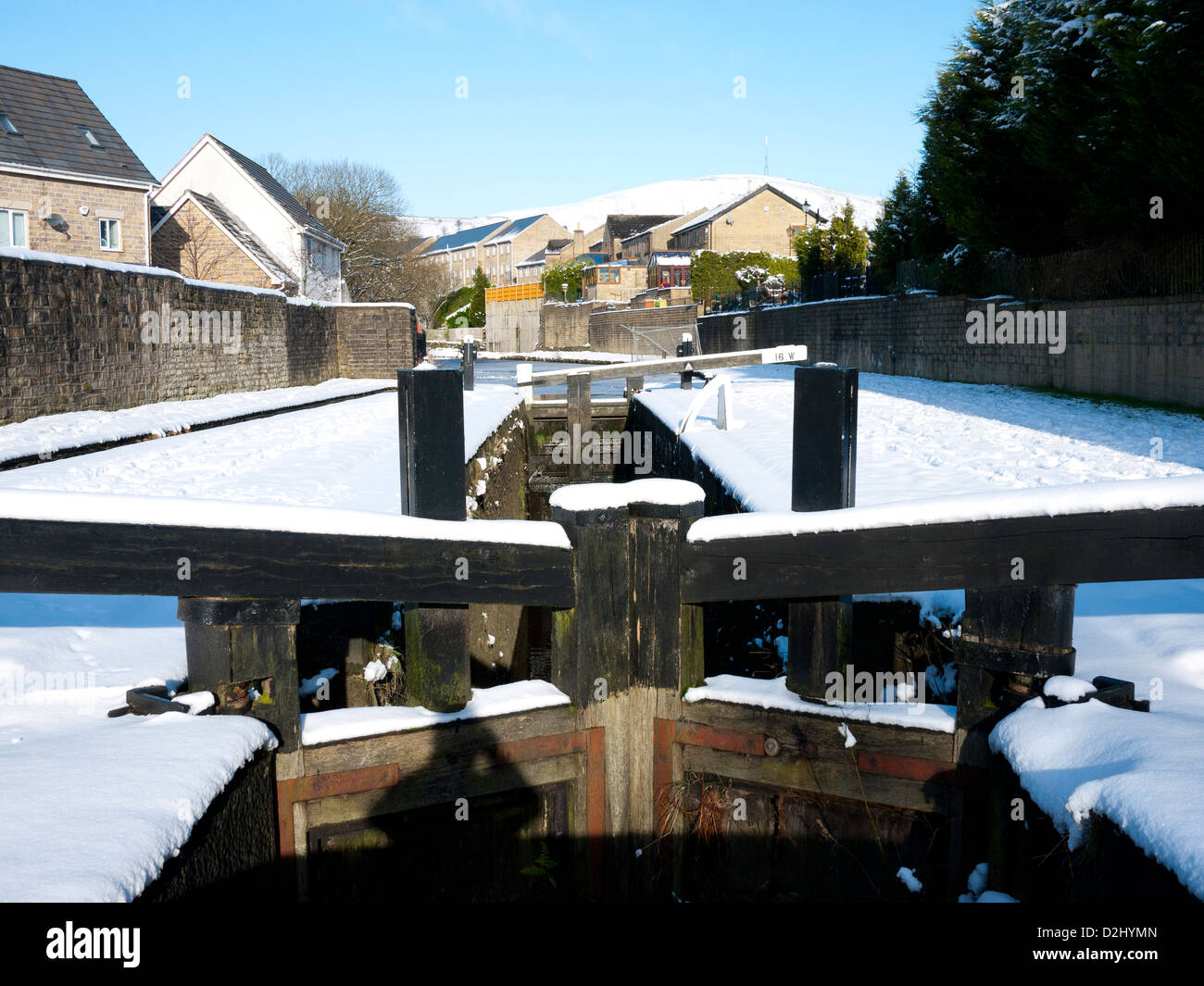 Lock Gates on the Huddersfield Canal, Mossley, Greater Manchester, UK. - Stock Image