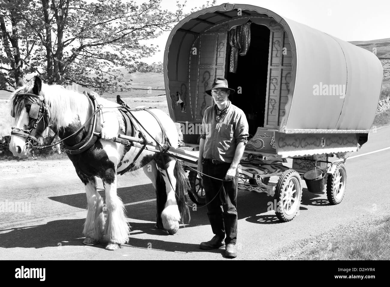 Traveller en-route to the Appleby Horse Fair, Garsdale Head, Yorkshire, England - Stock Image