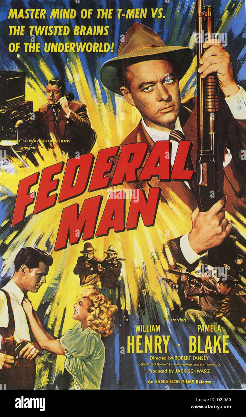FEDERAL MAN Poster for 1950 Eagle Lion film with William Henry and Pamela Blake - Stock Image
