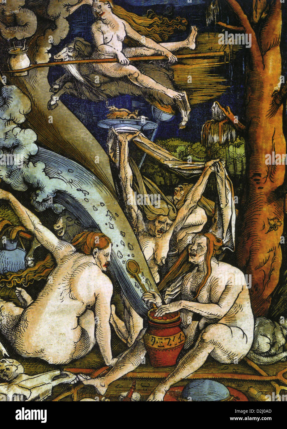 HANS BALDUNG GRIEN ( c 1484-1545) German artist's 1506 coloured woodcut of Witches - Stock Image