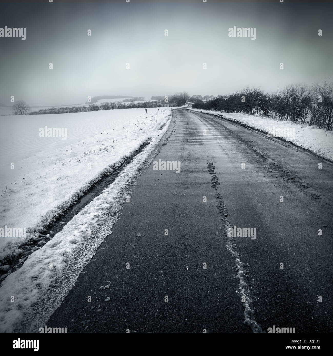 remote snow road - Stock Image