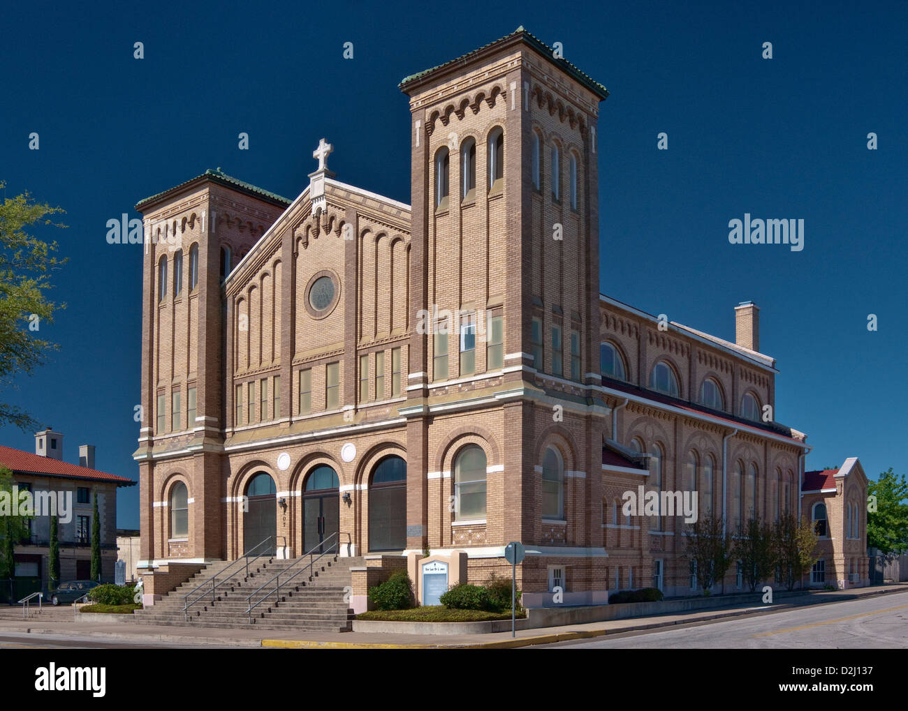 Our Lady of Lourdes Catholic Church, Romanesque Revival style (1924), historic district near center of Victoria, - Stock Image