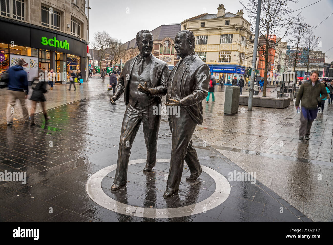 The statue of football pools and stores millionaires Sir John ( left) and his brother Cecil Moores in Lord StreetStock Photo