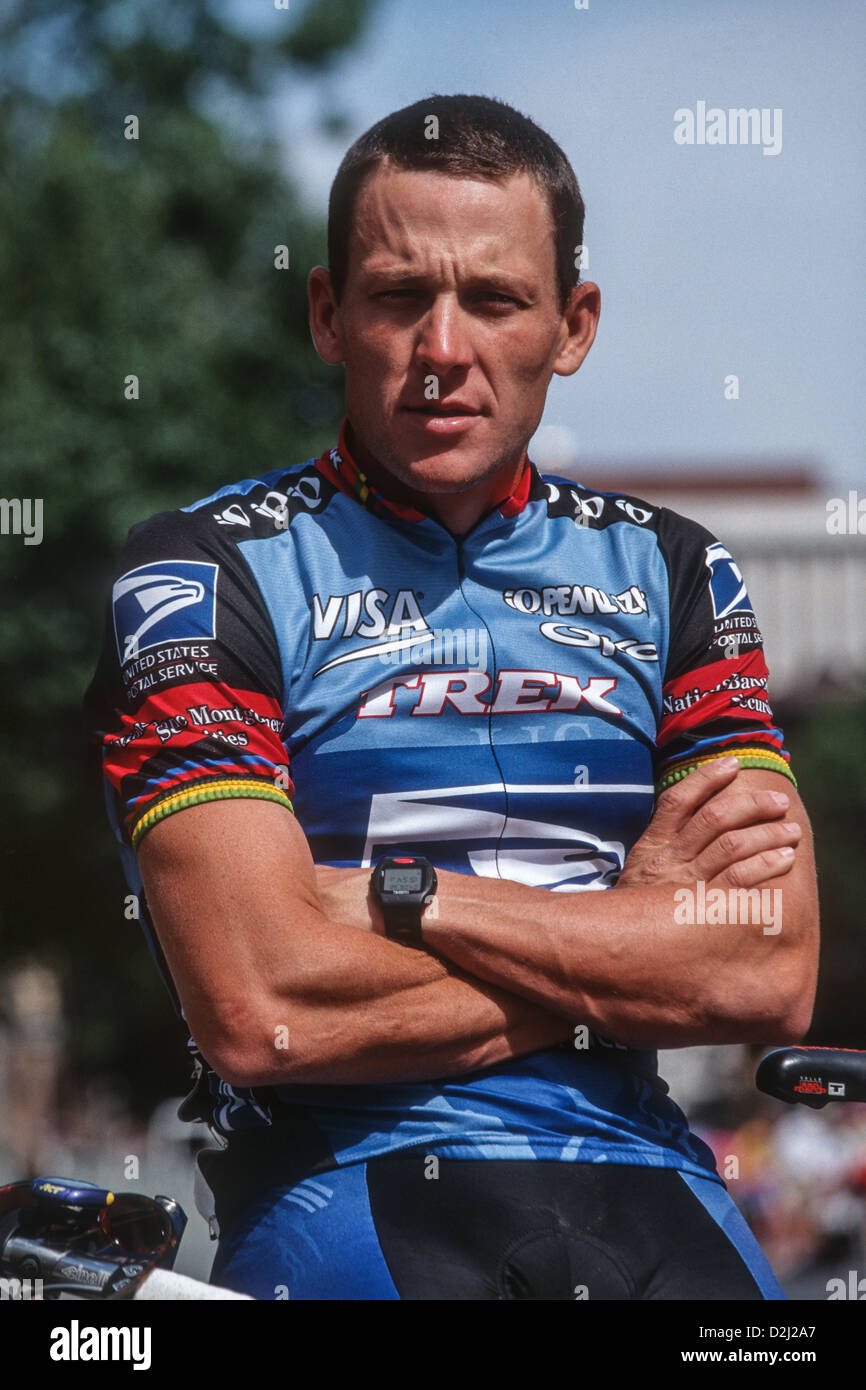 Lance Armstrong competing for the US Postal Service Team at the 1998 First Union US PRO Cycling Championships. - Stock Image