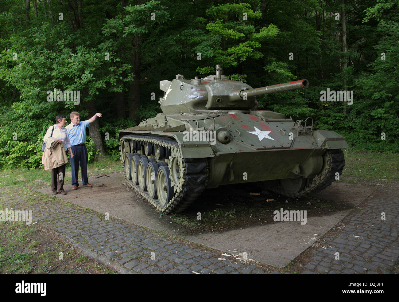Spicheren, France, a U.S. M-24 Chaffee tanks to commemorate - Stock Image