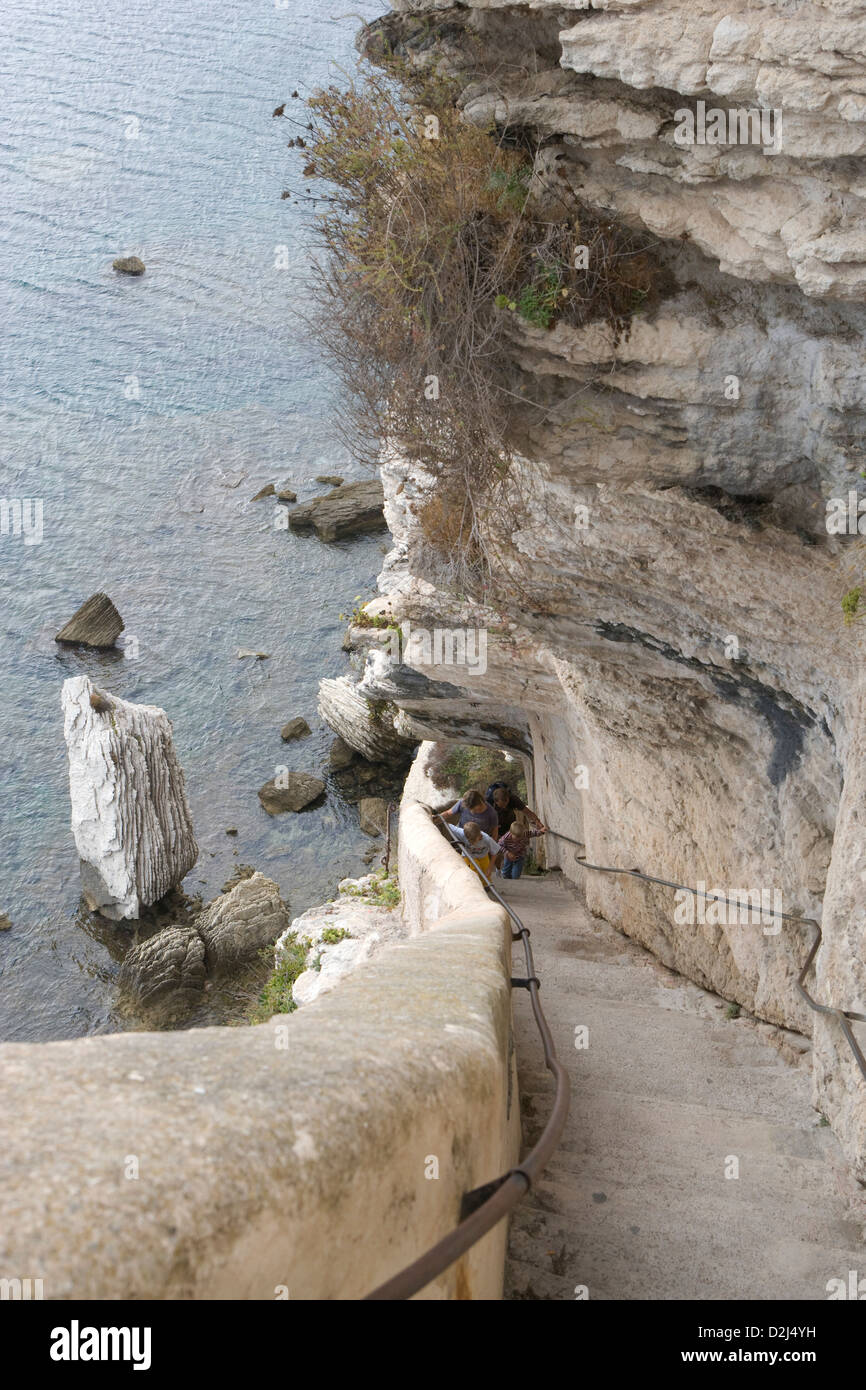 Corsica: Bonifacio - Escalier du Roi d'Aragon [187 steps] Stock Photo