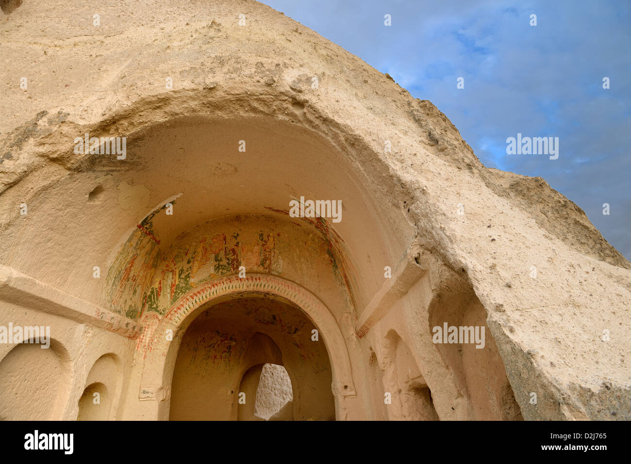 Ancient Church with frescoes carved out of volcanic tuff in the Red Valley Cappadocia Nevsehir Turkey - Stock Image