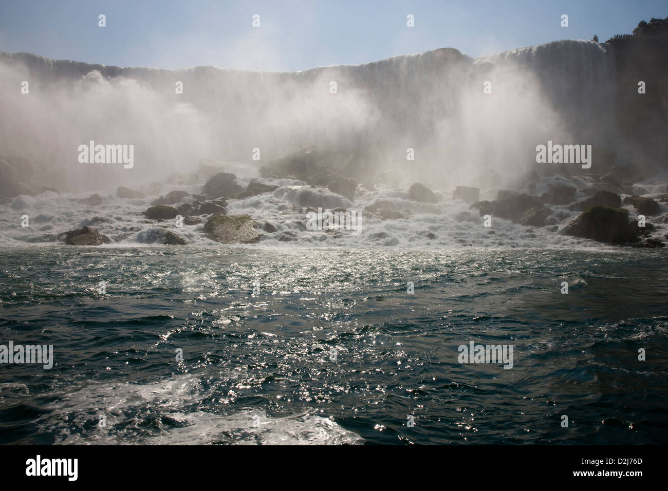 Niagara Falls, Canada, viewed from the Maid of the Mist tourist boat - Stock Image