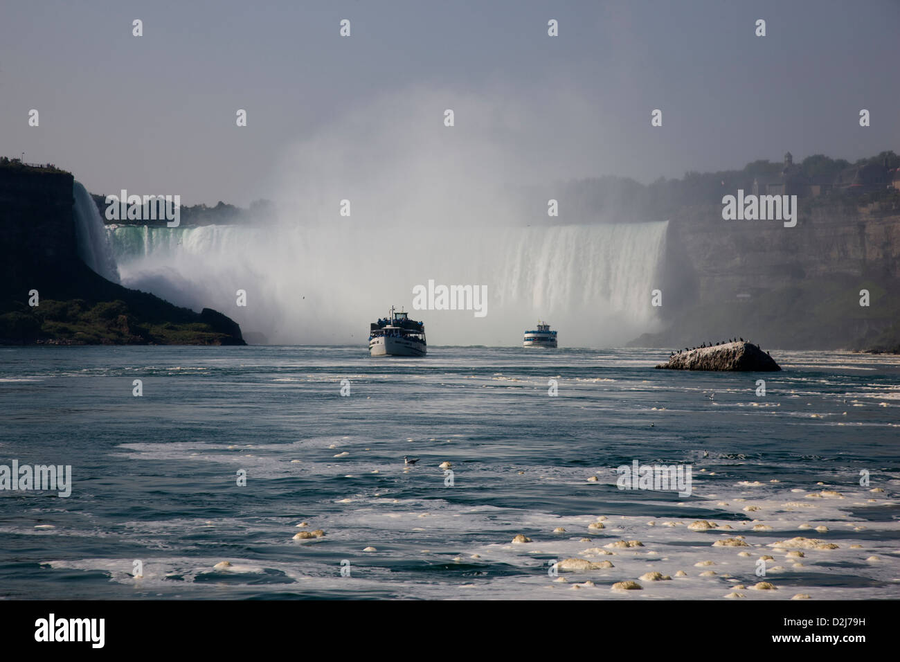 Scum, bubbles and foam on the surface of the river water, Niagara Falls, Canada - Stock Image