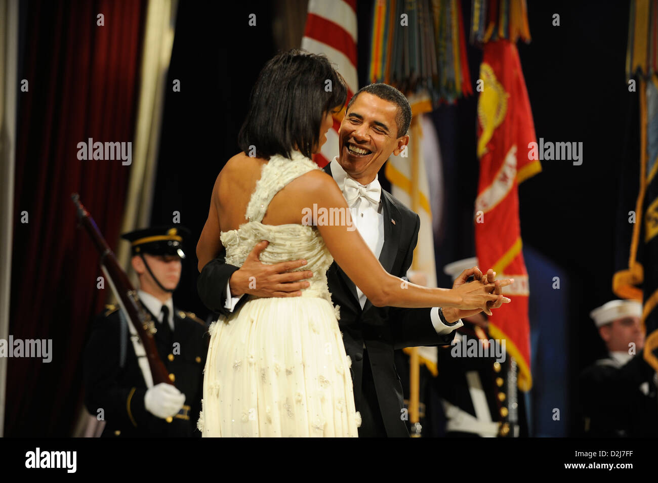 President Barack Obama and First Lady Michelle Obama dance at the Mid-Atlantic Ball in Washington, DC January 20, - Stock Image