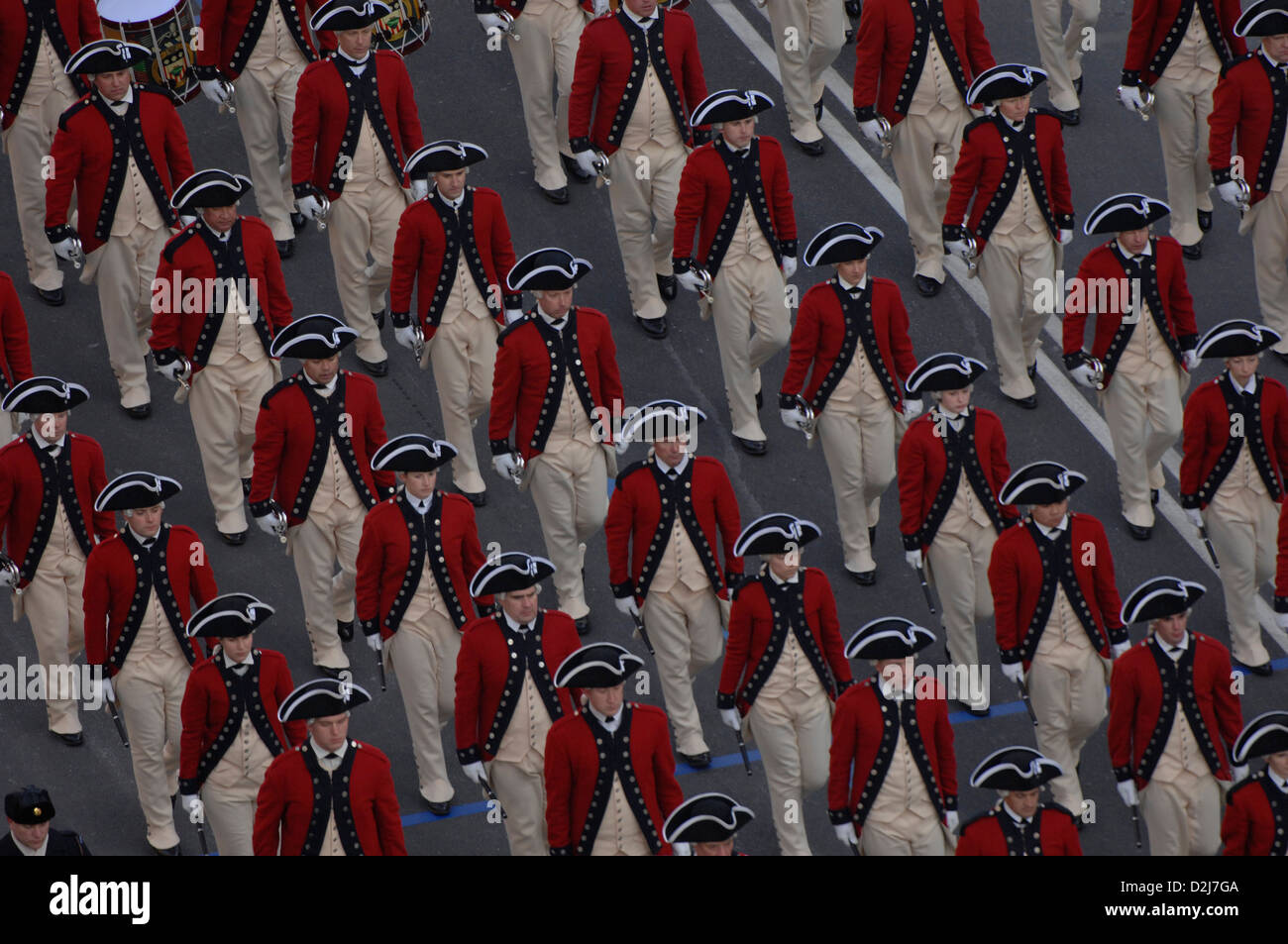 The US Army Old Guard Fife and Drum Corps marches down Pennsylvania Avenue during the first Obama 2009 presidential - Stock Image