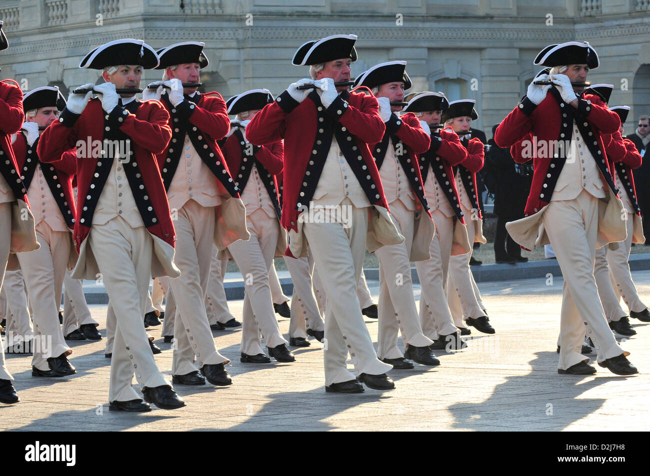 The US Army's Old Guard Fife and Drum Corps passes in review at the east front of the US Capitol during the 56th Stock Photo